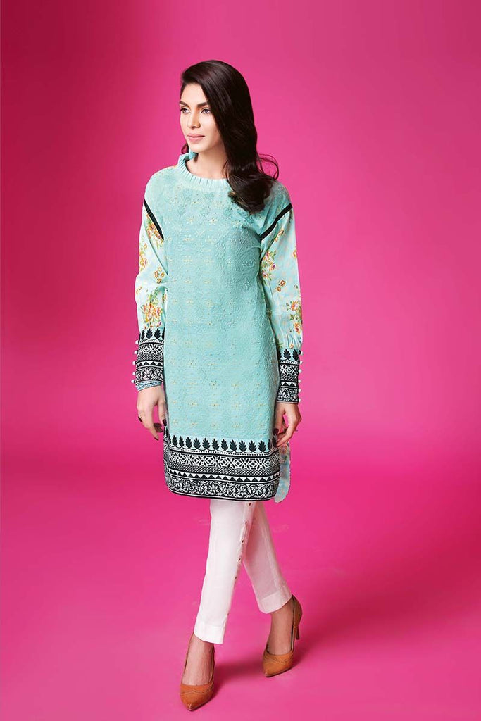 Gul Ahmed Summer Essential Collection 2018 – Sky blue 1 Pc Single Embroidered Lawn SL-342