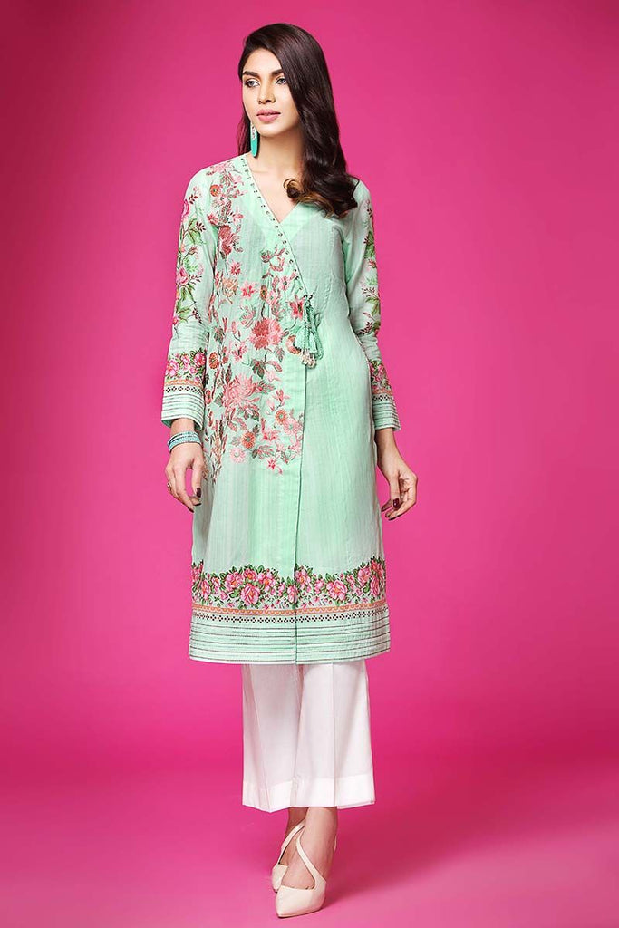 Gul Ahmed Summer Essential Collection 2018 – Sea Green 1 Pc Single Embroidered Lawn SL-418 C