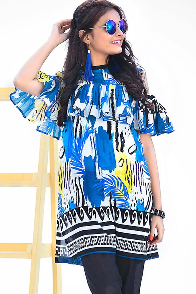 Gul Ahmed YOLO Collection 2018 – Blue 1 Pc Digital Printed Shirt SL-484