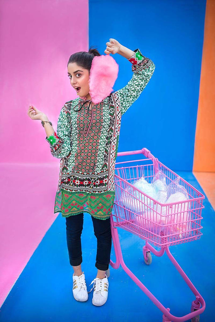 Gul Ahmed YOLO Collection 2018 – Green 1 Pc Digital Printed Shirt SL-489