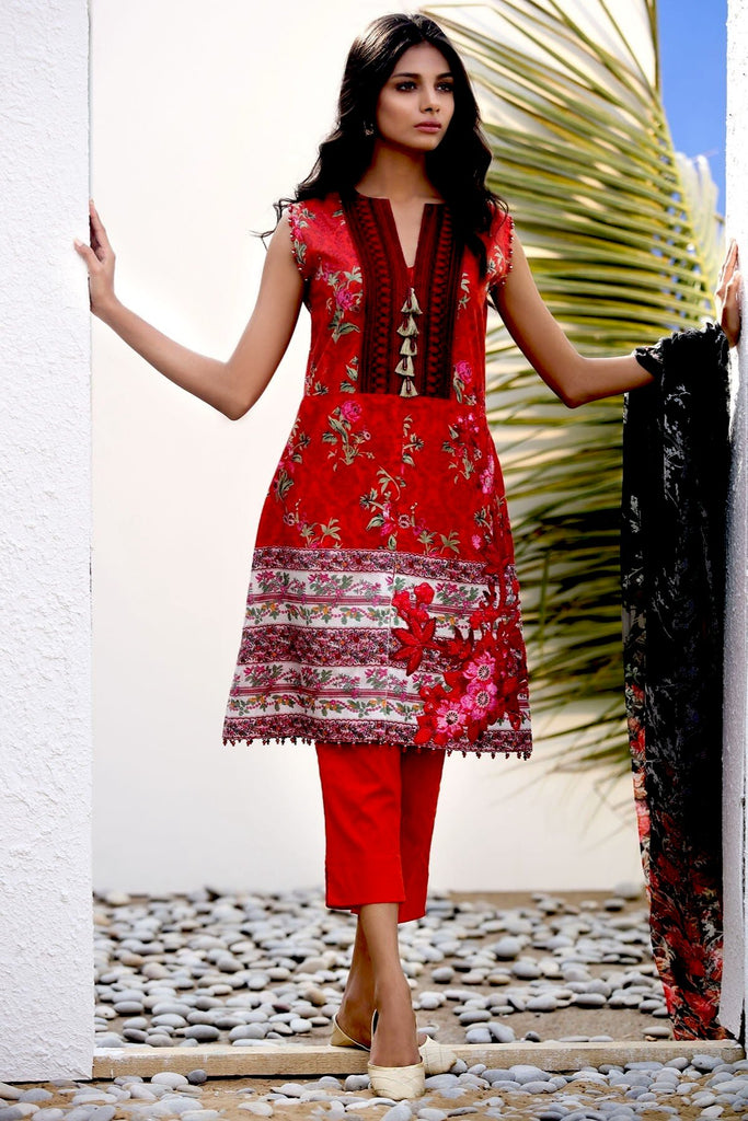 AlKaram Spring/Summer - 3 Piece Printed Embroidered – SS-09 Red