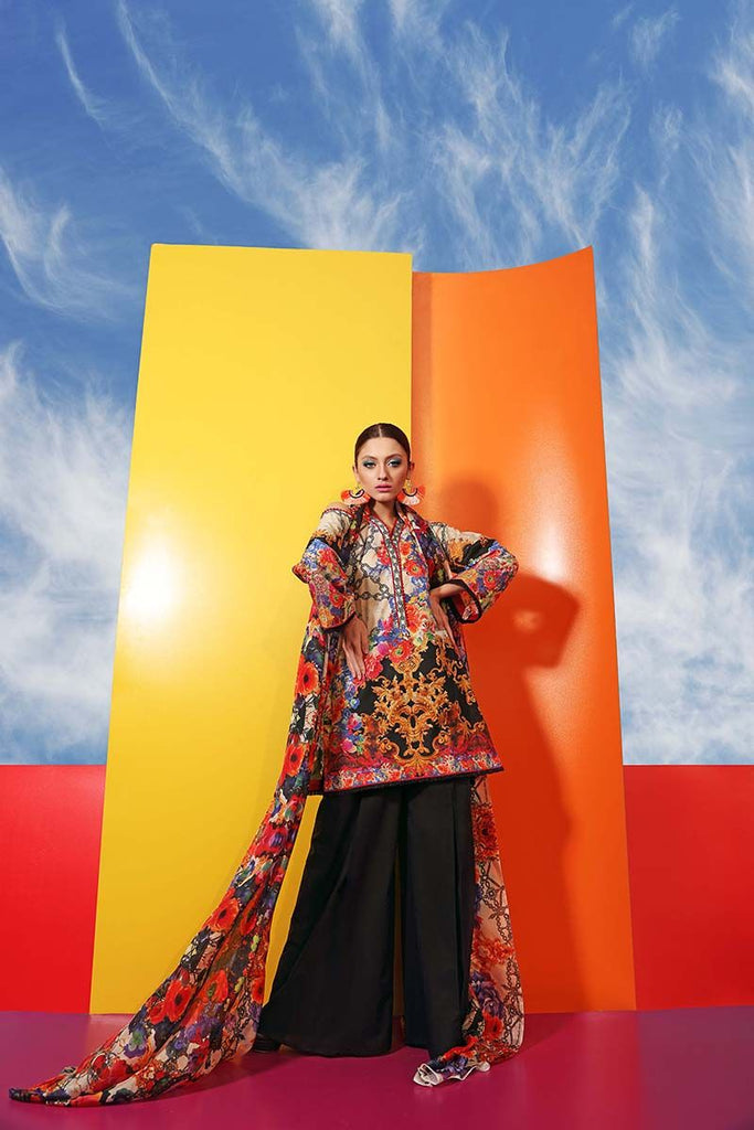 Gul Ahmed Summer Premium Collection 2018 – Multi 3 Pc Digital Silk Printed SS-175