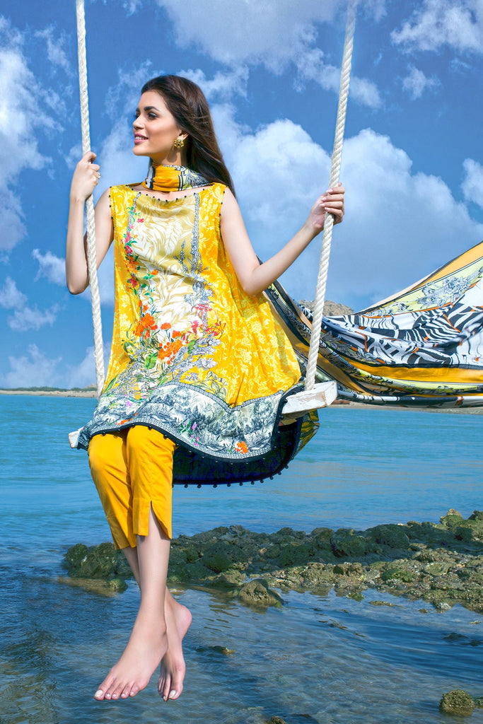 AlKaram Spring/Summer 2018 – 3 Piece Printed Lawn – SS-38 Chrome Yellow