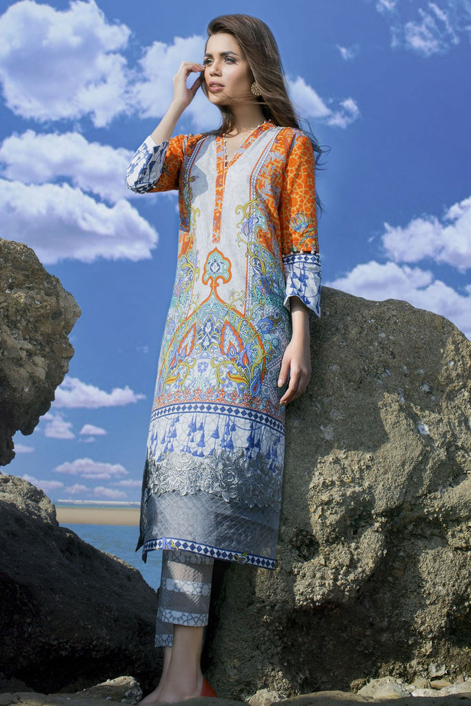 AlKaram Spring/Summer 2018 – 2 Piece Printed Lawn – SS-65 Orange