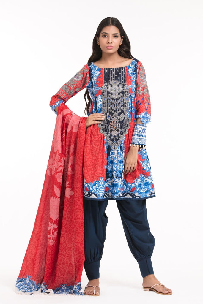 AlKaram Spring/Summer 2018 – 2 Piece Printed Embroidered – SS-71 Red