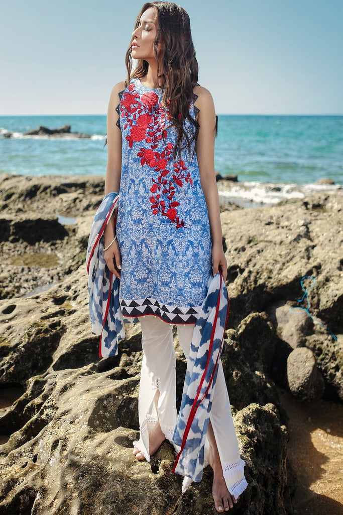 AlKaram Spring/Summer 2018 – 2 Piece Embroidered Lawn – SS-78 Blue