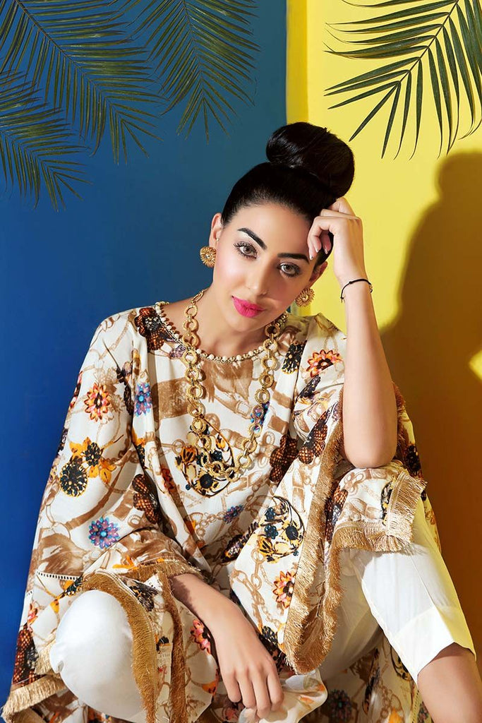 Gul Ahmed Summer Premium Collection 2018 – Off White 3 Pc Soya Silk SY-18