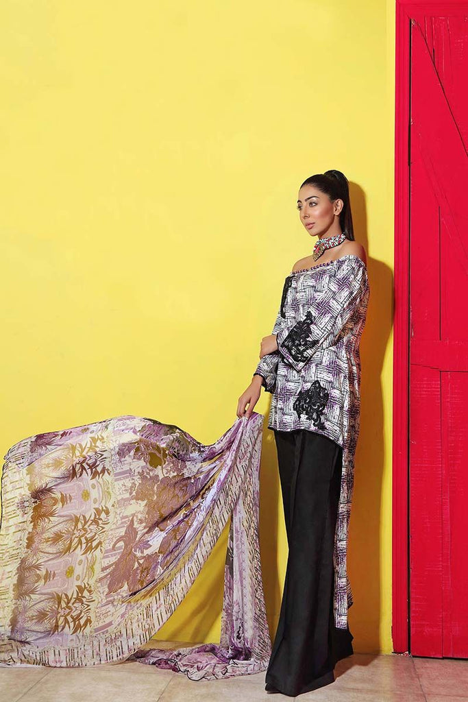Gul Ahmed Summer Premium Collection 2018 – Black 3 Pc Soya Silk SY-19