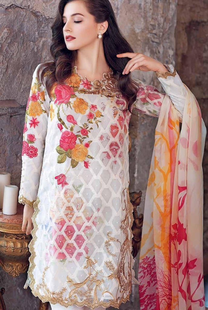 Gul Ahmed Luxury Festive Eid Collection - White 3 Pc Premium Embroidered Chiffon FE-54
