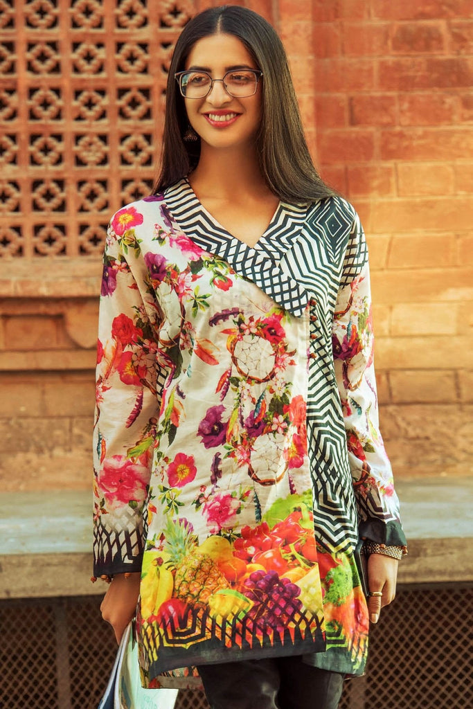 Gul Ahmed YOLO Collection - Creme 1 Pc Digital Print Shirt SL-396