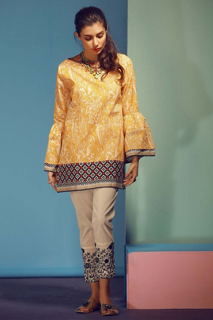 Khaadi Tropical Escape Lawn Collection 2018 – T18108 Yellow 2Pc
