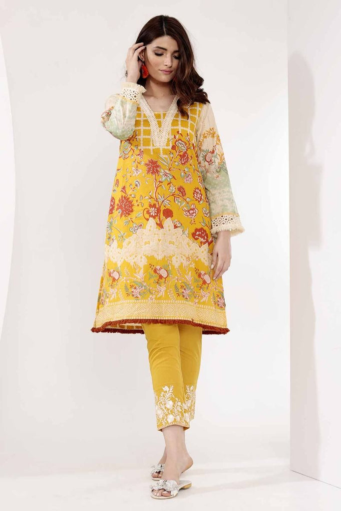 Khaadi Mid Summer Lawn Collection 2018 – T18304 Yellow 2Pc
