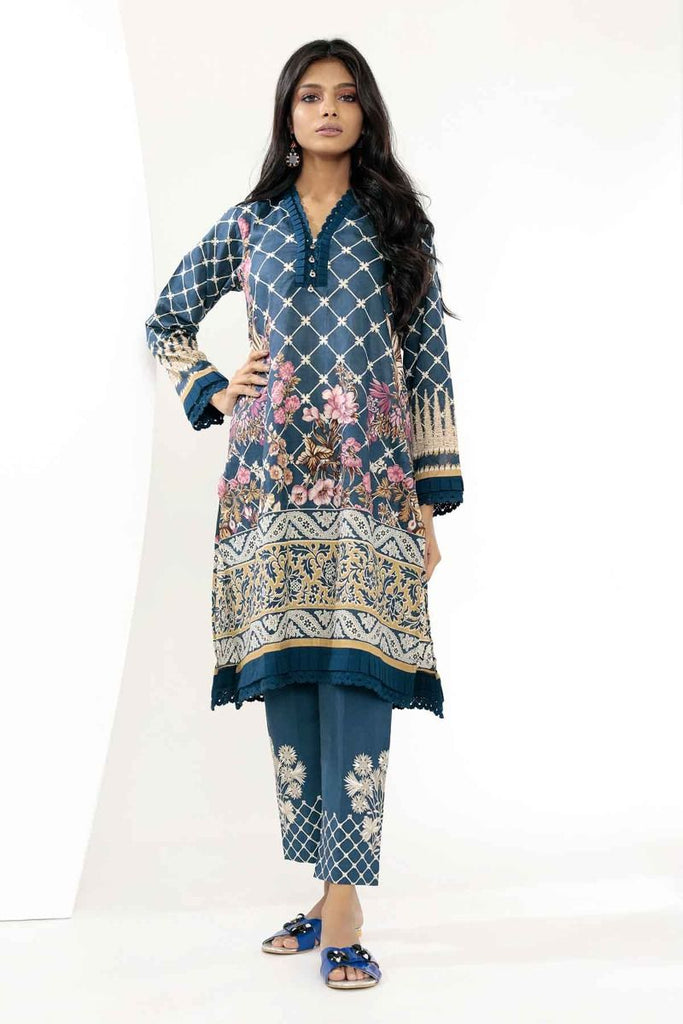 Khaadi Mid Summer Lawn Collection 2018 – T18306 Navy Blue 2Pc