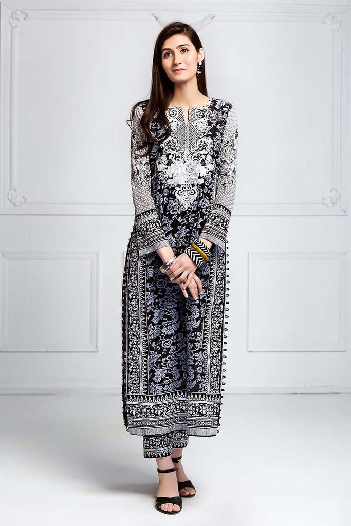 Gul Ahmed Summer Essential Collection 2018 – Black & White 2 Pc Embroidered Lawn TL-101 B
