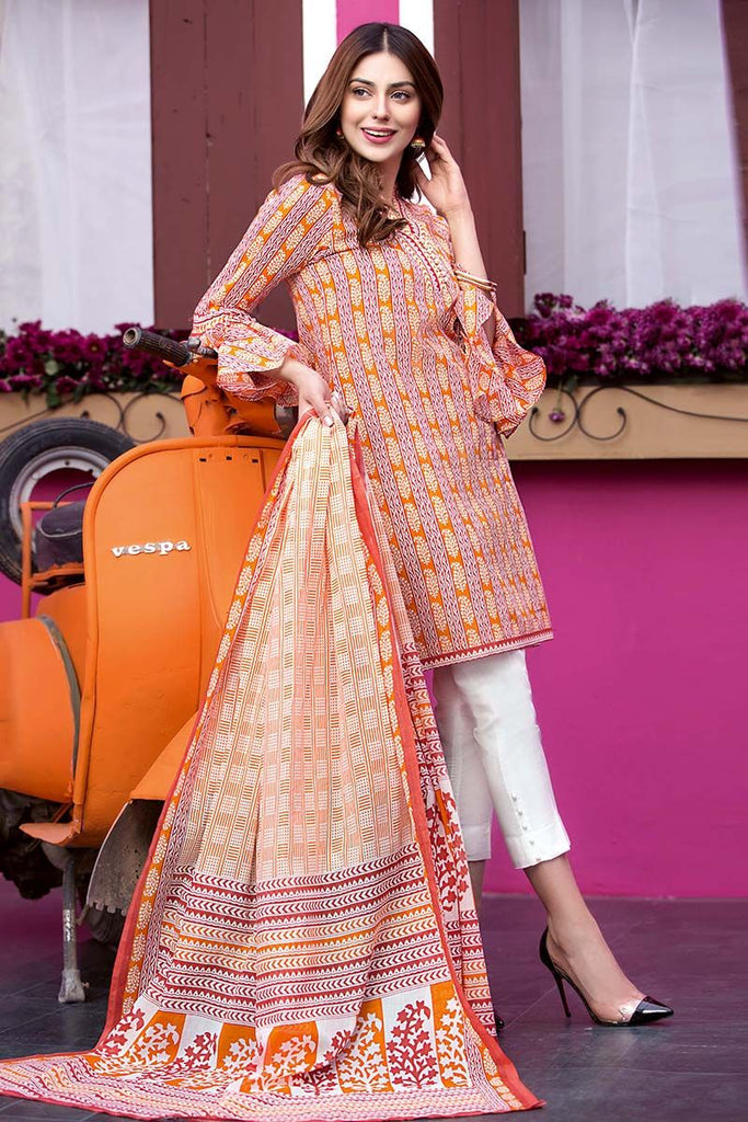 Gul Ahmed Summer Essential Collection 2018 – Orange 2 Pc Printed Lawn TL-103 A