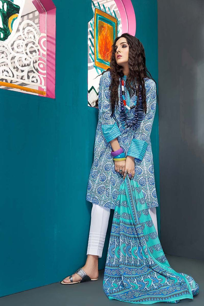 Gul Ahmed Summer Essential Collection 2018 – Sky blue 2 Pc Printed Lawn TL-111 B