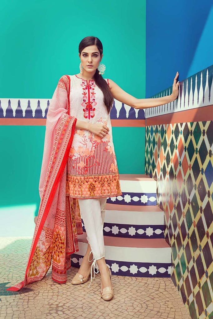 Gul Ahmed Summer Essential Collection 2018 – Orange 2 Pc Embroidered Lawn TL-114 B