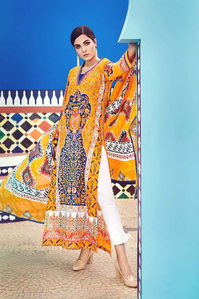 Gul Ahmed Summer Essential Collection 2018 – Mustard 2 Pc Printed Lawn TL-116 B