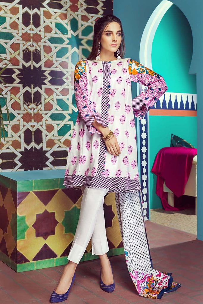 Gul Ahmed Summer Essential Collection 2018 – White 2 Pc Printed Lawn TL-117 B