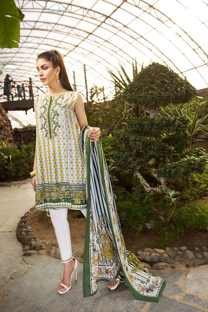 Gul Ahmed Summer Essential Collection 2018 – White 2 Pc Embroidered Lawn TL-118 B