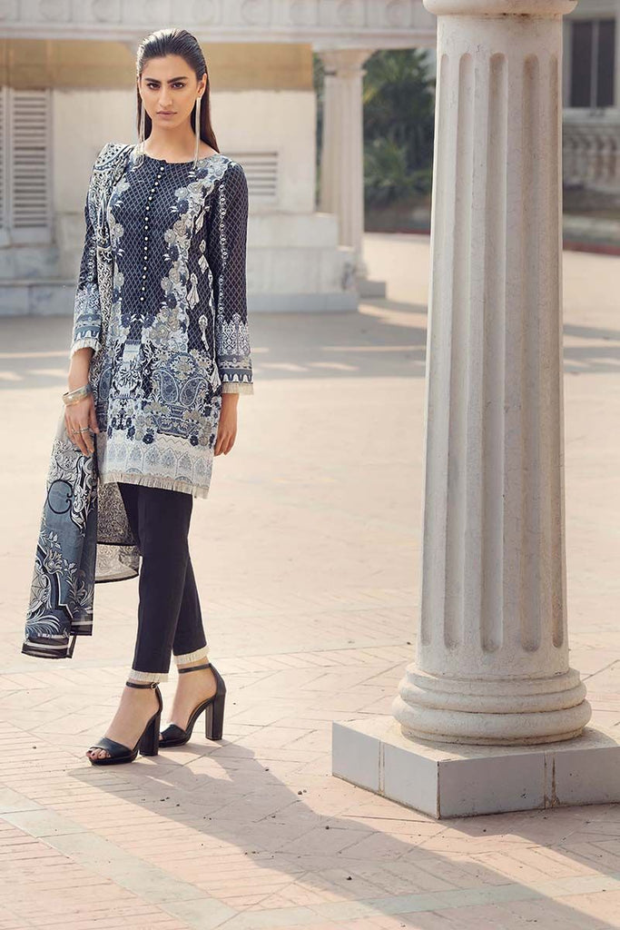 Gul Ahmed Summer Essential Collection 2018 – Navy Blue 2 Pc Printed Lawn TL-119 A