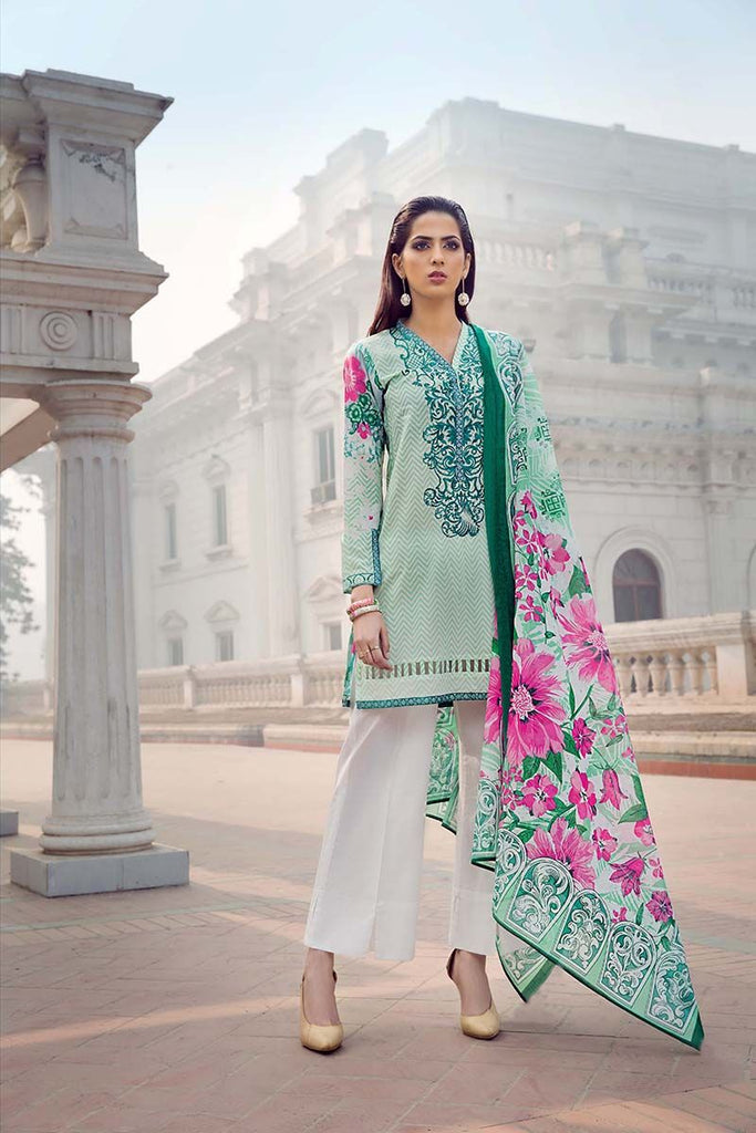 Gul Ahmed Summer Essential Collection 2018 – Sea Green 2 Pc Embroidered Lawn TL-120 A