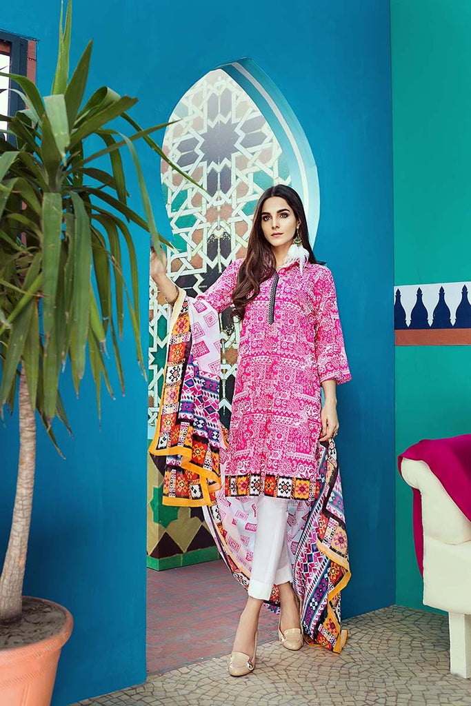 Gul Ahmed Summer Essential Collection 2018 – Fuchsia 2 Pc Printed Lawn TL-126 A
