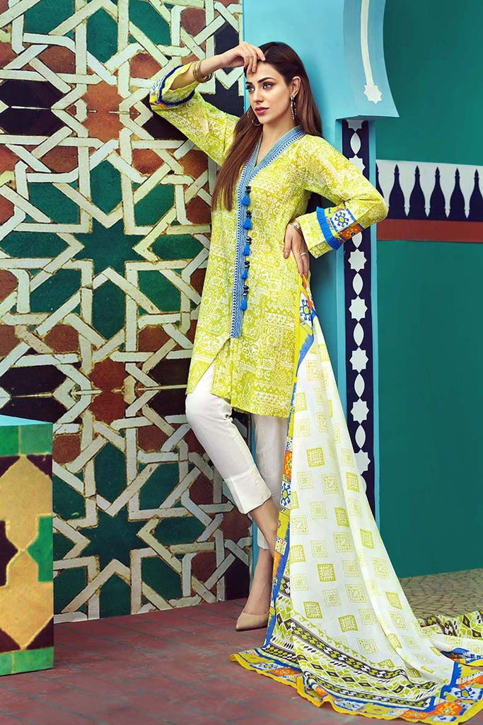 Gul Ahmed Summer Essential Collection 2018 – Yellow 2 Pc Printed Lawn TL-126 B