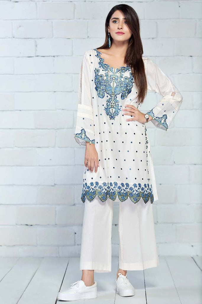Gul Ahmed Summer Essential Collection 2018 – White 2 Pc Embroidered Lawn TL-128