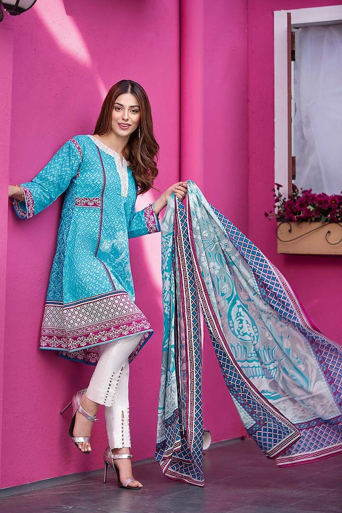 Gul Ahmed Summer Essential Collection 2018 – Aqua 2 Pc Embroidered Lawn TL-139 A