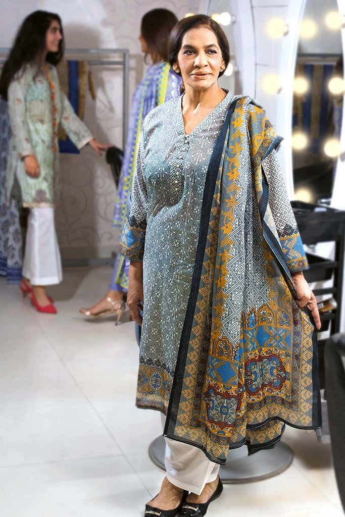Gul Ahmed Summer Essential Collection 2018 – Grey 2 Pc Printed Lawn TL-148 B