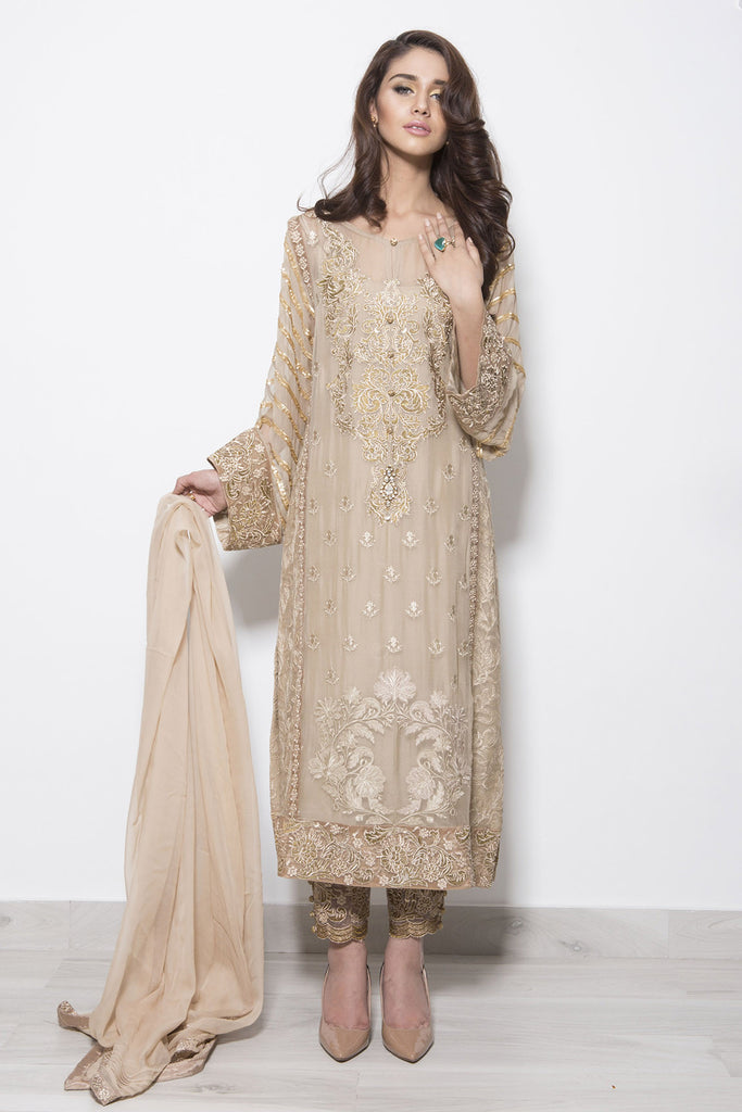 Baroque Luxury Chiffon Embroidered Collection - Gold Rush - YourLibaas  - 1