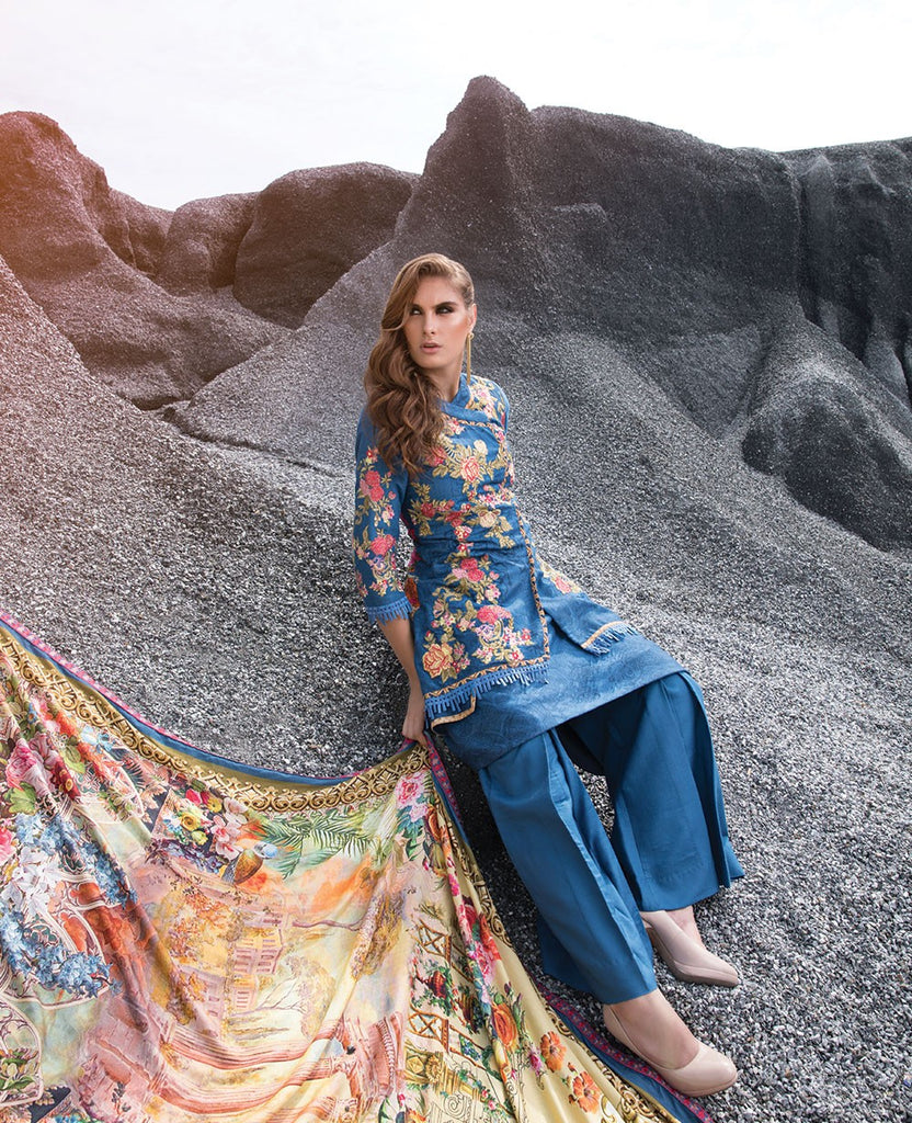 Ittehad Royal Embroidered Winter Collection 2018 – Blue Woodlot