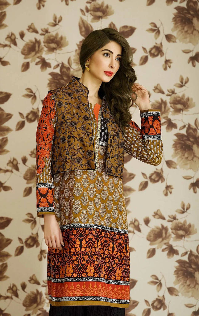 Lala Brocade Embroidered Lawn Kurti – BRK-07 - YourLibaas  - 1