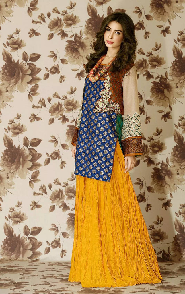 Lala Brocade Embroidered Lawn Kurti – BRK-09 - YourLibaas  - 1