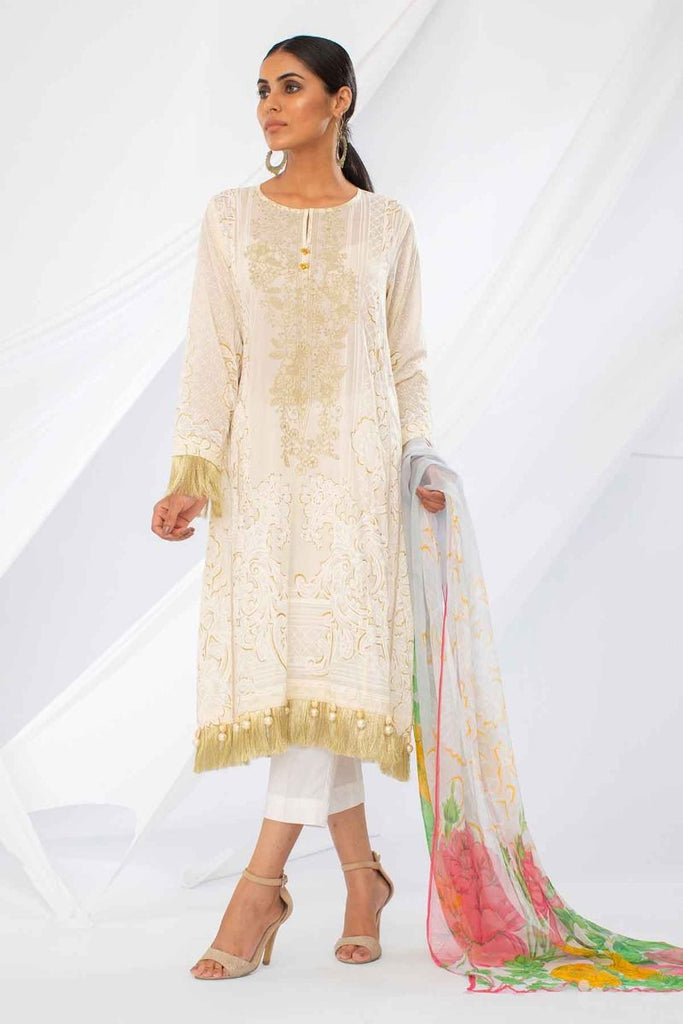 Khaadi Mid Summer Lawn Collection 2018 – Y18301 Off White 2Pc