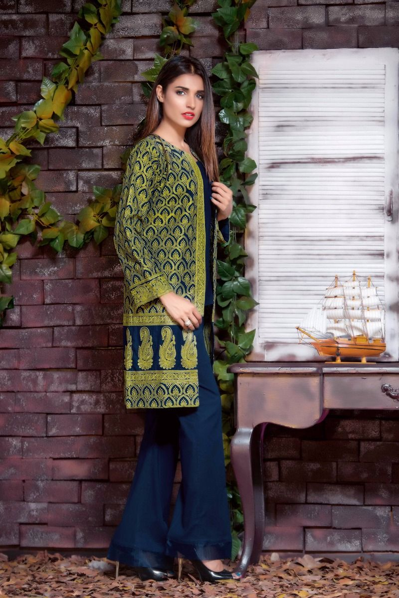 0108b17aa8 20% OFF Sold Out Gul Ahmed Winter 2017 – Blue 1 Pc Embroidered Khaddar  SK-12 A