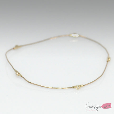 Gold Wire Bangle Bracelet with Diamond Accents
