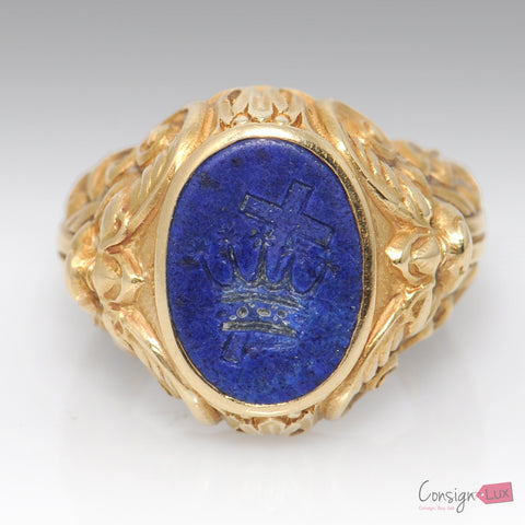 18K Yellow Gold and Lapis Crown and Cross Templar Signet Ring - Size 6