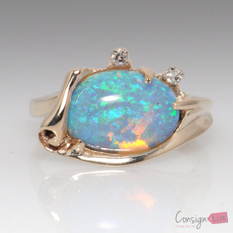 Crystal Opal & Diamond Ring - Size 6
