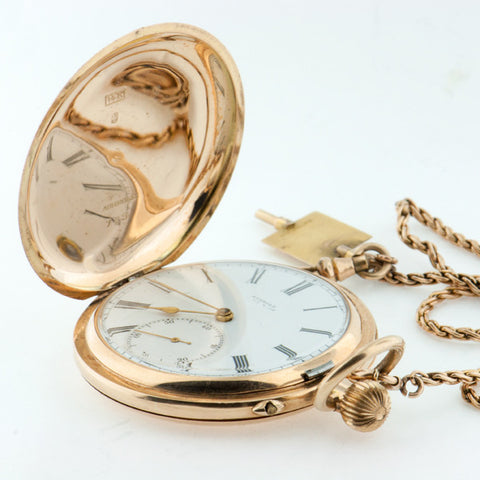 Aureole Pocket Watch - 14k Yellow Gold Hunter Style Case
