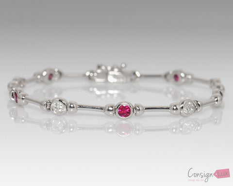 Ruby and Sapphire 14k White Gold Fancy Link Bracelet