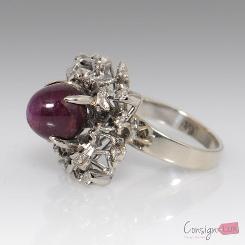8.54 Ct. Star Ruby and Diamond Ring - Size 5.5