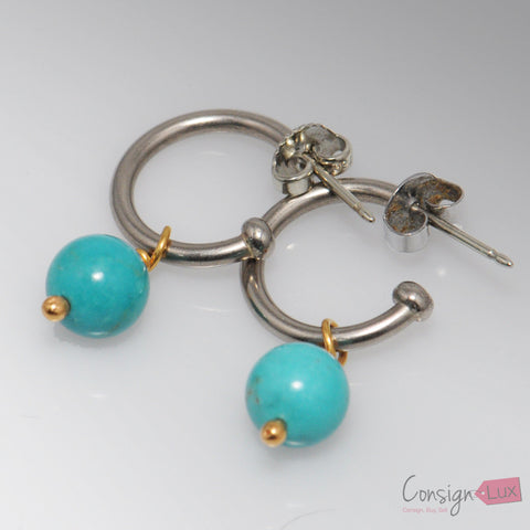 Turquoise Bead 18k White Gold Earrings