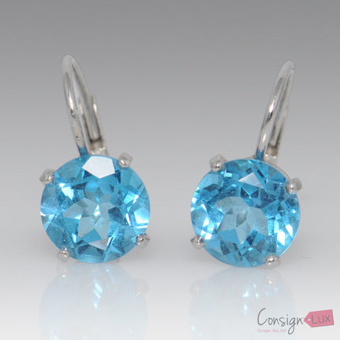 Natural Blue Topaz Earrings