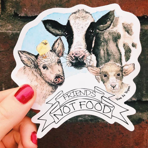 Friends not food vinyl sticker, sold by ethical fashion brand Viva La Vegan.