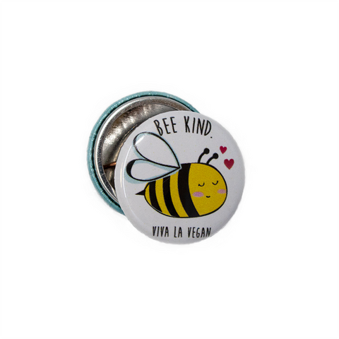 Bee kind badge, sold by ethical fashion brand Viva La Vegan.