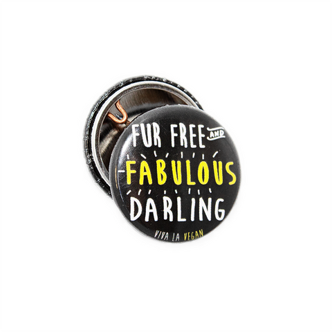 Fur free and fabulous badge, sold by ethical fashion brand Viva La Vegan.
