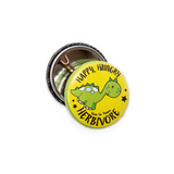 Happy hungry herbivore badge, sold by ethical fashion brand Viva La Vegan.