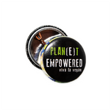 Planet empowered badge, sold by ethical fashion brand Viva La Vegan.